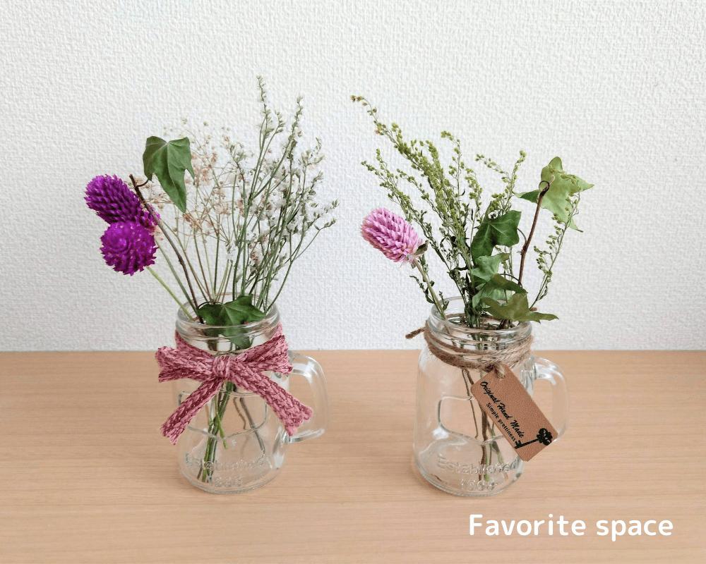 ブルーミーライフの花を使って作ったドライフラワーの画像