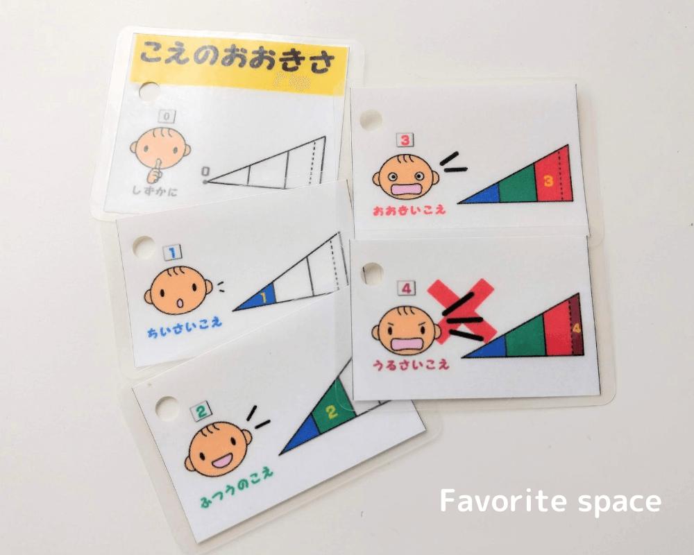 自閉症のための声の大きさを表す指示カードの画像