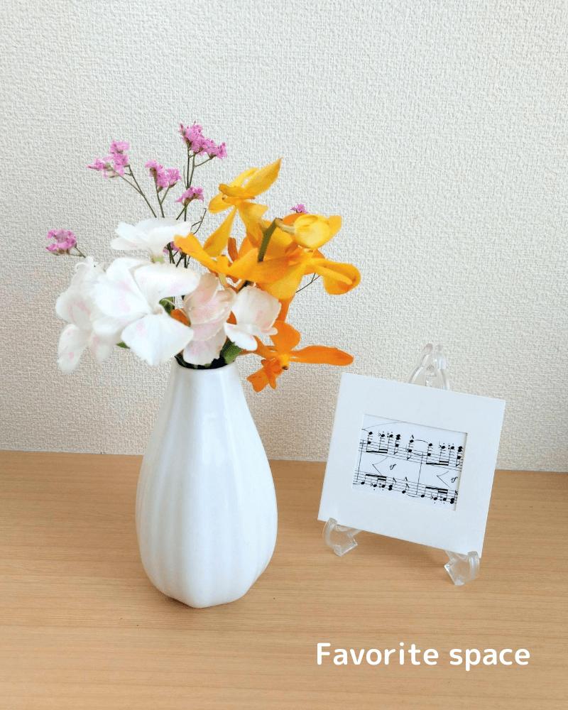 ダイソーの花瓶にモカラを飾った画像